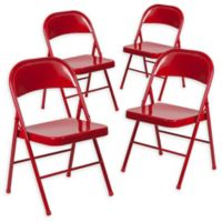 Flash Furniture Double Braced Metal Folding Chair in Red (Set of 4)