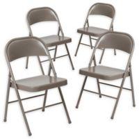 Flash Furniture Double Braced Metal Folding Chair in Beige (Set of 4)