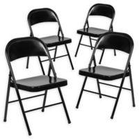 Flash Furniture Double Braced Metal Folding Chair in Black (Set of 4)