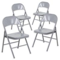 Flash Furniture Double Braced Metal Folding Chair in Grey (Set of 4)