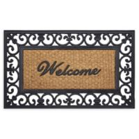 "Achim Wrought Iron Welcome 18"" x 30"" Rubber Door Mat in Brown"