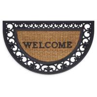 """Achim Wrought Iron Border Welcome 18"""" x 30"""" Slice Door Mat in Brown/Black"""