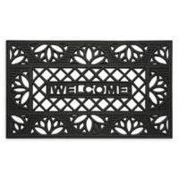 "Achim Wrought Iron Tulip 18"" x 30"" Rubber Door Mat in Black"