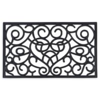"Achim Wrought Iron Heart 18"" x 30"" Rubber Door Mat in Black"