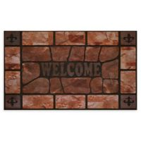 "Achim Clay Stone Welcome 18"" x 30"" Multicolor Raised Rubber Door Mat"