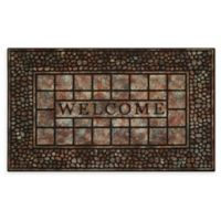 "Achim Pebble Squares Welcome 18"" x 30"" Multicolor Raised Rubber Door Mat"