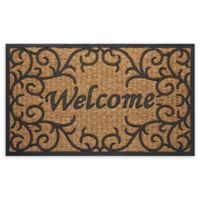 "Achim Vines Welcome 18"" x 30"" Coco Door Mat in Brown"