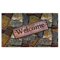 "Achim Quarry Stones Welcome 18"" x 30"" Multicolor Rubber Door Mat"