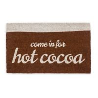 """Entryways """"Come in for Hot Cocoa"""" 17"""" x 28"""" Coir Door Mat in Brown/White"""