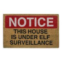 """Entryways Elf Surveillance 17"""" x 28"""" Coir Multicolor Door Mat"""