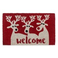 "Entryways Reindeer Welcome 17"" x 28"" Coir Multicolor Door Mat"