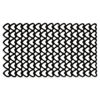"Entryways Hearts 16"" x 28"" Rubber Doormat in Black"