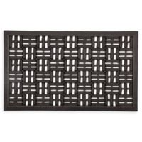 "Entryways Squares 18"" x 30"" Rubber Door Mat in Black"