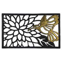 """Entryways Hummingbird 18"""" x 30"""" Rubber Door Mat in Black/Gold"""