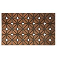 "Entryways Rhombus Weave 18"" x 30"" Rubber Door Mat in Bronze"