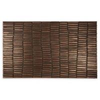 """Entryways Wood Wall 18"""" x 30"""" Rubber Doormat in Brown"""