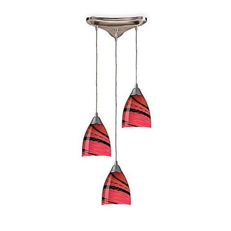 Vertical Pendant Ceiling Light in Autumn Glass and Satin Nickel
