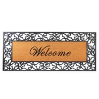 "Envelor Home and Garden 24"" x 57"" Welcome Floral Rubber Coir Mat in Brown/Black"