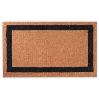 """Black Border 36"""" x 60"""" Coir Door Mat in Brown"""