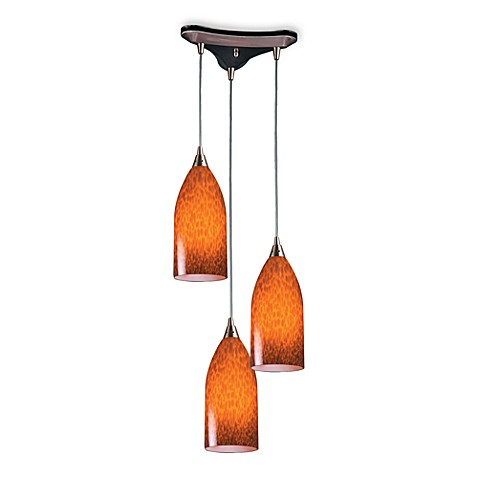 ELK Lighting 3-Light Vertical Pendant with a Satin Nickel Finish and Espresso Glass Shades