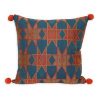 Jungalow by Justina Blakeney Estrella Square Throw Pillow in Blue/Orange