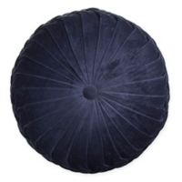 Velvet Tufted Round Throw Pillow in Navy