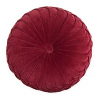 Velvet Tufted Round Throw Pillow in Burgundy