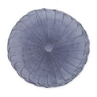 Velvet Tufted Round Throw Pillow in Denim