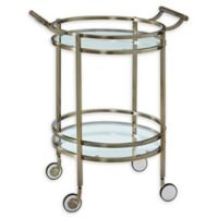 Powell Round Service Cart in Antique Silver