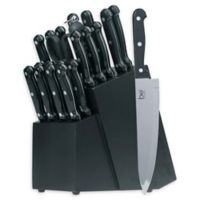 Basic Essentials® 22-Piece ABS Triple-Riveted Knife Block Set in Black