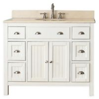 Avanity Hamilton 43-Inch Single Vanity Combo with Beige Marble Top and Mirror in French White