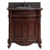 Avanity Provence 31-Inch Single Vanity Combo with Brown Granite Top and Mirror in Antique Cherry