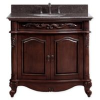 Avanity Provence 37-Inch Single Vanity Combo with Brown Granite Top and Mirror in Antique Cherry