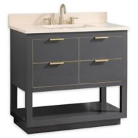 Avanity Allie 37-Inch Single Vanity Combo with Cream Marble Top and Mirror in Grey with Gold Trim
