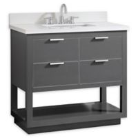 Avanity Allie 37-Inch Single Vanity Combo with White Quartz Top and Mirror in Grey with Silver Trim