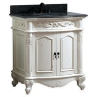 Avanity™ Provence 31-Inch Single Vanity with Sink and Mirror in Antique White/Black
