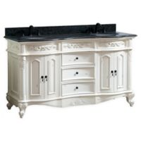 Avanity™ Provence 61-Inch Double Vanity with Sinks and Mirror in Antique White/Black