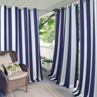 Elrene Aiden Stripe 84-Inch Indoor/Outdoor Window Curtain Panel in Navy