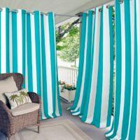 Elrene Aiden Stripe 84-Inch Indoor/Outdoor Window Curtain Panel in Turquoise