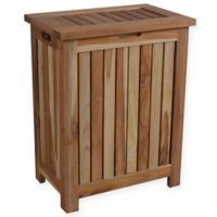 EcoDecors™ Annabella 2-Compartment Slatted Teak Hamper with Laundry Bags