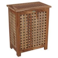 EcoDecors™ Annabella 2-Compartment Lattice Teak Hamper with Laundry Bags
