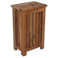 EcoDecors™ Annabella Slatted Teak Apartment Hamper with Laundry Bag