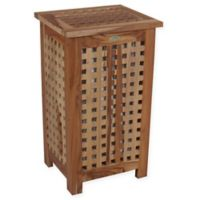 EcoDecors™ Annabella Lattice Teak Apartment Hamper with Laundry Bag