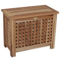 EcoDecors™ Annabella 2-Compartment Lattice Teak Bench Hamper with Laundry Bags