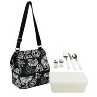 Picnic at Ascot Two Section Lunch Cooler with Accessories in Black/White