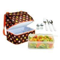 Picnic at Ascot Two Section Lunch Cooler with Accessories in Brown/Orange