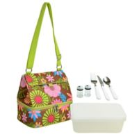 Picnic at Ascot Floral Two Section Lunch Cooler with Accessories
