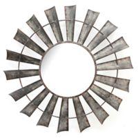Galvanized Windmill 35-Inch Round Wall Mirror