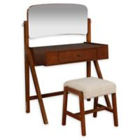 Linon Home Annmarie 2-Piece Vanity Set in Brown