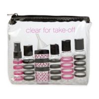 "Miamica® 12-Piece ""Clear for Take-Off"" Travel Bottle and Bag Kit in Black/Fuchsia"
